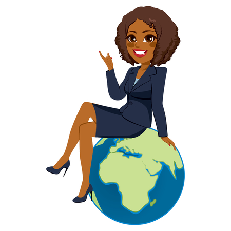 Young beautiful black brunette businesswoman sitting on globe showing Africa continent 免版税图像 - 64731043