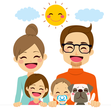 perro familia: Familia de cinco miembros feliz que sostiene la bandera blanca