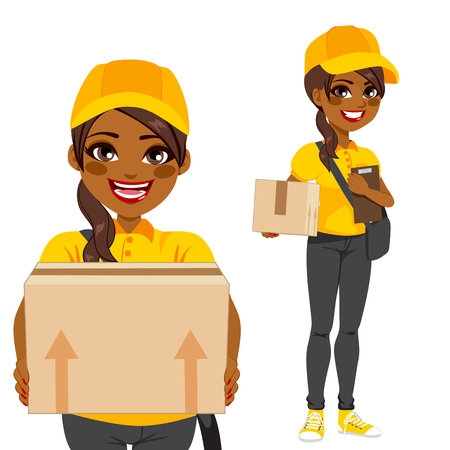 Young woman courier delivering cardboard box parcel in yellow and black uniform
