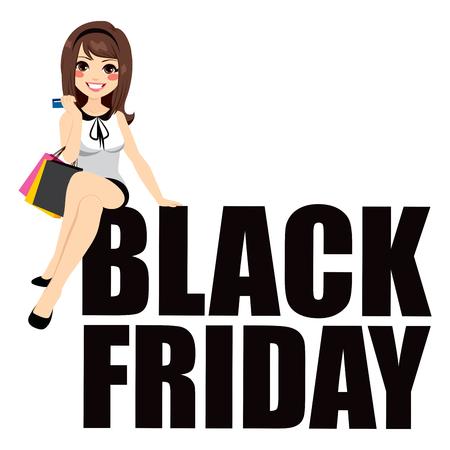 Schöne junge Brünette Frau auf schwarzem Freitag Text sitzt
