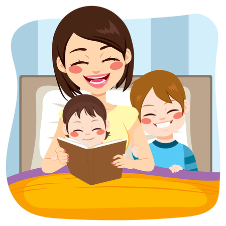mom and son: Young mom reading tale story to baby girl and son together on bed Illustration