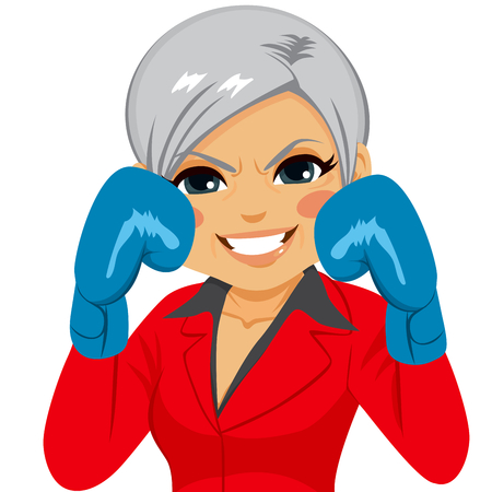 Senior businesswoman wearing blue boxing gloves business concept ready to fight for success Illustration