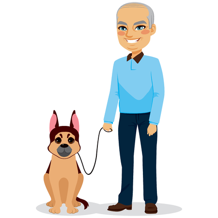 mature men: Happy senior man with german shepherd dog Illustration