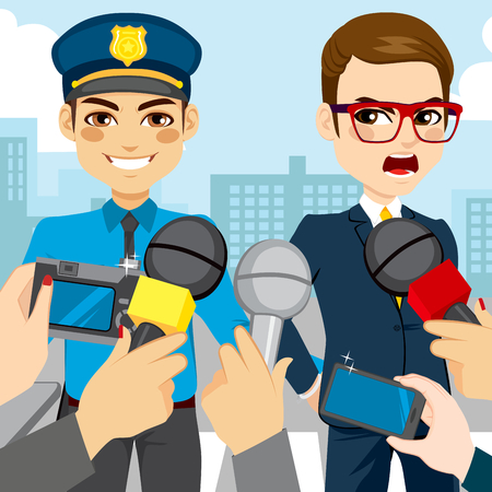 white collar: Journalist press interviewing a white collar corrupt businessman while policeman is arresting him Illustration