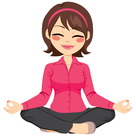nirvana: Young businesswoman in yoga lotus pose relaxing happy Illustration