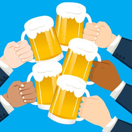 Multicultural businessmen hands toasting holding beer on party celebration Illustration