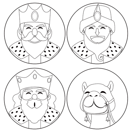 Monochrome coloring line art illustration of three kings and camel