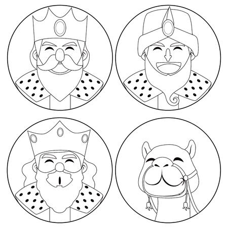 three kings: Monochrome coloring line art illustration of three kings and camel Illustration