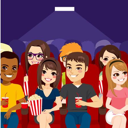 Jonge mensen kijken naar een film in de bioscoop theater met popcorn en drinken Stockfoto - 64731058