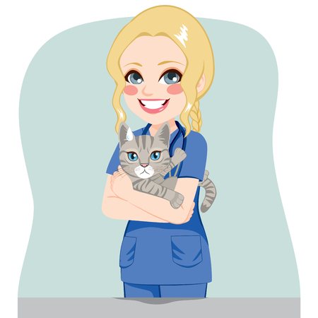Young beautiful female veterinarian with upset cat