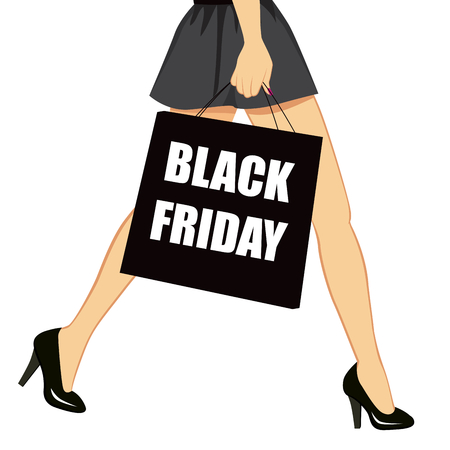 Close up of woman sexy long legs and holding shopping bag with black friday text