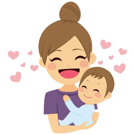 Mooie jonge moeder knuffelen peuter zoon met liefde Stockfoto - 64731123