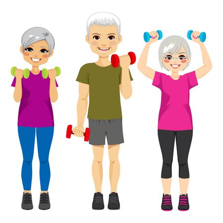 Pequeño grupo de gente mayor que ejercita entrenamiento de pesas