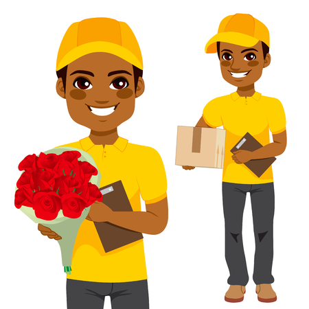 courier: Young man courier delivering flowers and parcel cardboard box
