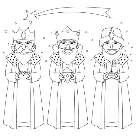 Monochrome coloring line art illustration of three kings