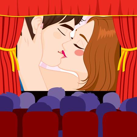 Cine Teatro proyectar par de besos en la película de la historia de amor en la pantalla