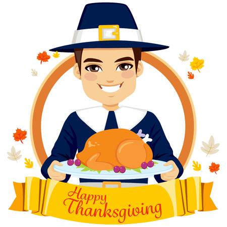 pilgrim costume: Pilgrim man holding roasted turkey for happy Thanksgiving Day celebration