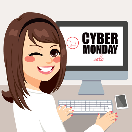 Beautiful young woman buying on cyber Monday sale with computer Vectores