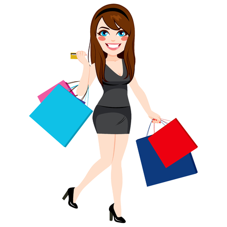 happy shopper: Beautiful young girl shopping holding paper bags and credit card