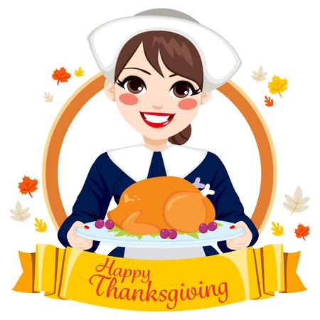 Pilgrim woman holding roasted turkey for Happy Thanksgiving Day celebration Illustration