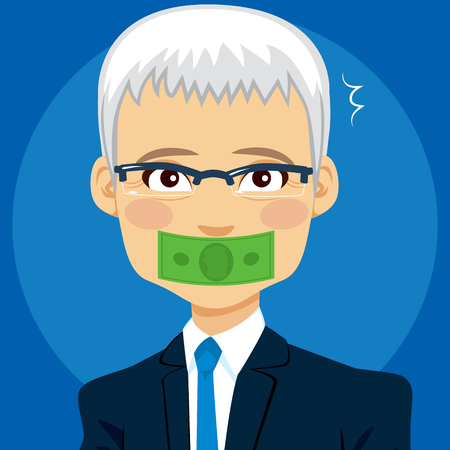 Money dollar banknote covering senior businessman mouth buying silence corruption concept