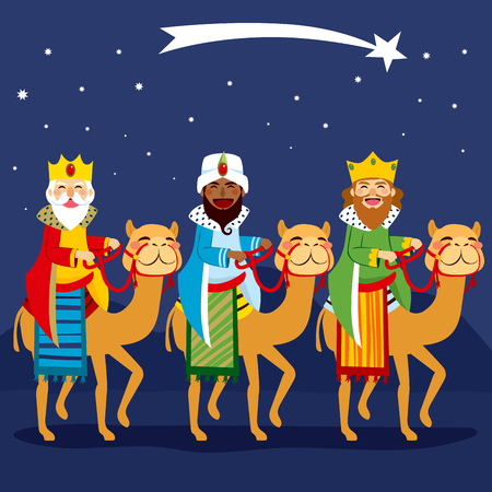Three happy kings riding camel following shooting star Vectores