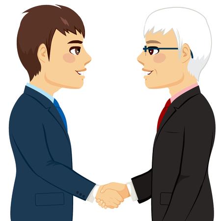 side profile: Portrait of two businessmen shaking hands senior young partnership concept Illustration