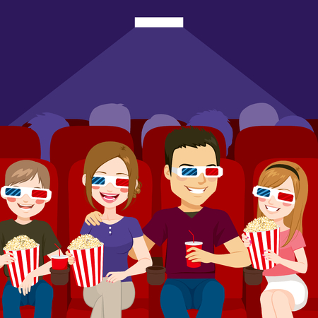 young group: Family watching a movie at cinema theater with popcorn and drink