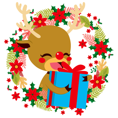 gift giving: Cute happy reindeer holding present gift giving concept