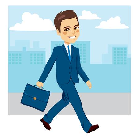 hombres trabajando: Hombre de negocios joven feliz que recorre con el fondo de la calle Vectores