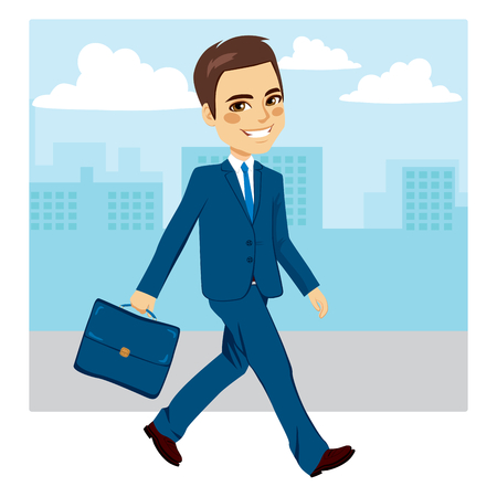 businessman walking: Young businessman walking happy with street background