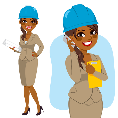 african woman at work: Architect black woman character standing with blue safety helmet holding blueprints and talking with smartphone Illustration