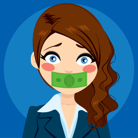woman close up: Young businesswoman silenced with green money bill Illustration