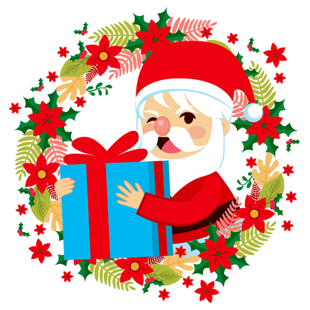 gift giving: Cute winking happy Santa Claus holding present gift giving