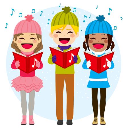 carols: Flat color style illustration of kids singing Christmas carols Illustration
