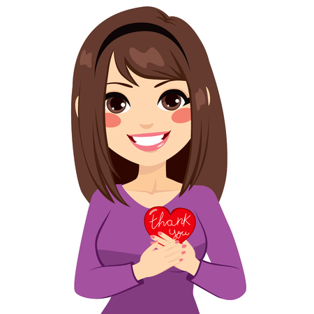 Woman holding red heart with thank you text