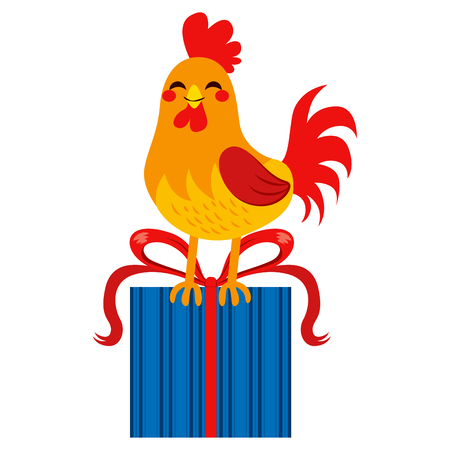 gift giving: Rooster standing with big present box gift giving concept Illustration