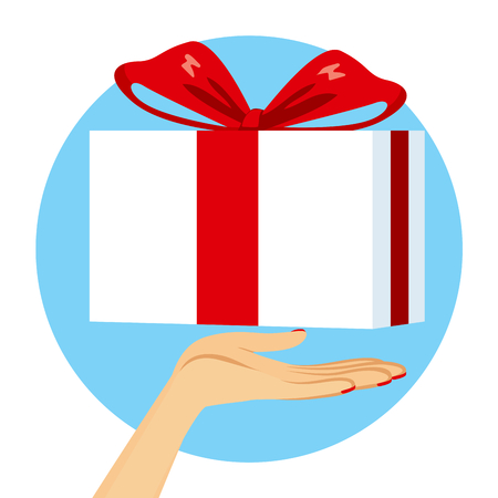 gift giving: Close up illustration of female hand with gift giving concept