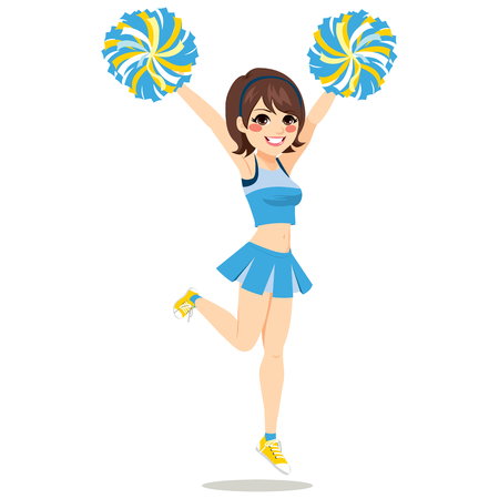 Happy young cheerleader girl jumping With Pom-poms on blue uniform Çizim