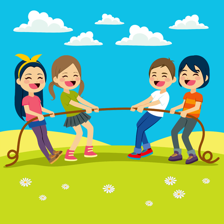 tug war: Illustration of Little Kids playing Tug of War outdoors Illustration