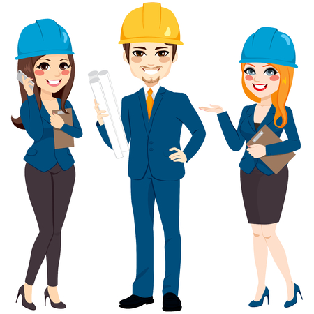 Architect team group standing wearing safety helmet hat and holding blueprints Ilustração
