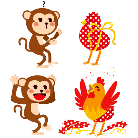 Cute monkey surprised with wrapped gift and celebrating new rooster year Illustration