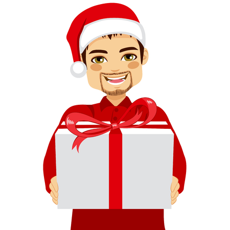 festive background: Handsome young man giving a Christmas gift to you on white background Illustration