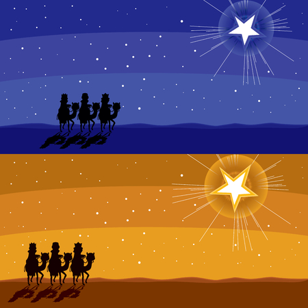 three kings: Two different color Christmas banner of three kings silhouette following shining star Illustration