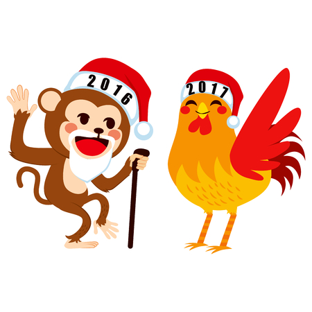 wave hello: Old 2016 Chinese zodiac monkey saying goodbye to 2017 rooster as New Year concept