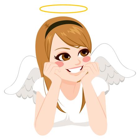 niña pensando: ángel retrato de adolescente hermosa con mirada de pensamiento Vectores