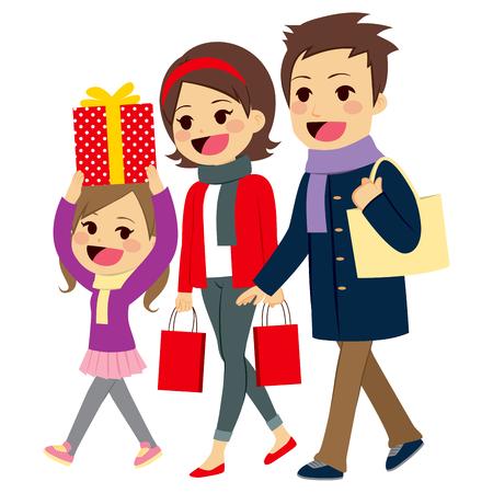 chicas de compras: familia feliz linda que va de compras de Navidad juntos