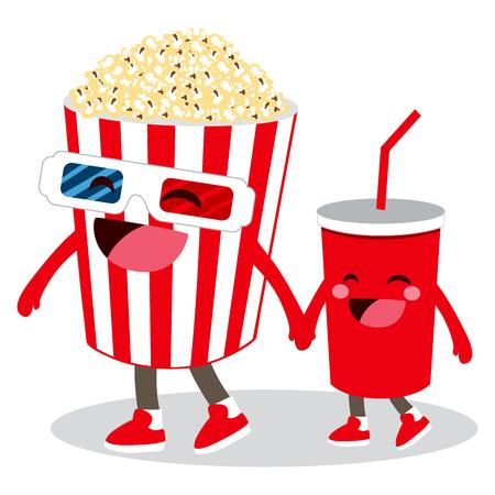 Dos cine linda palomitas de maíz y refrescos de cola animada amigos de personaje de la mano