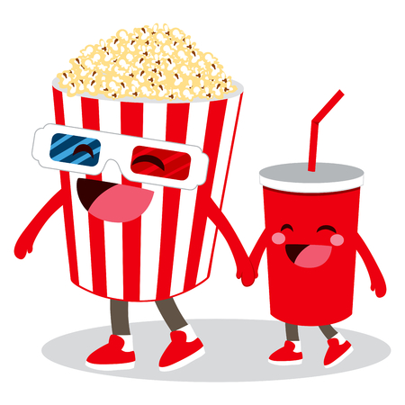 Two cute cinema pop corn and cola animated character friends holding hands Stock Illustratie
