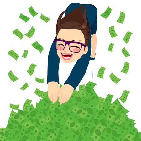 Happy young businesswoman jumping in to a money pool full of green banknotes